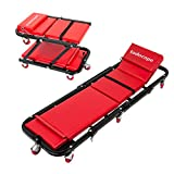 TODOCOPE 47 Inch 300 Lbs 2 in 1Foldable Mechanic Creeper & Rolling Seat with Adjustable Headrest,Tool Trays, Low Profile,Red