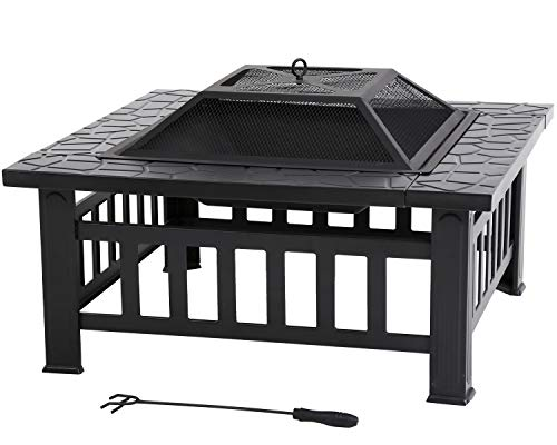 Outdoor Fire Pit 32 inch Square Metal Firepit for Patio Wood Burning Fireplace Garden Stove with Charcoal Rack, Poker & Mesh Cover for Camping Picnic Bonfire Backyard