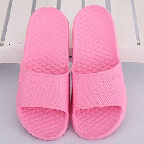Ririhong Zapatillas Mujer Verano hogar Antideslizante Desodorante Hotel Chanclas Hombres Interior Suave Fondo Ligero baño Lazy drag-38-39_Thick_Bottom_Pink