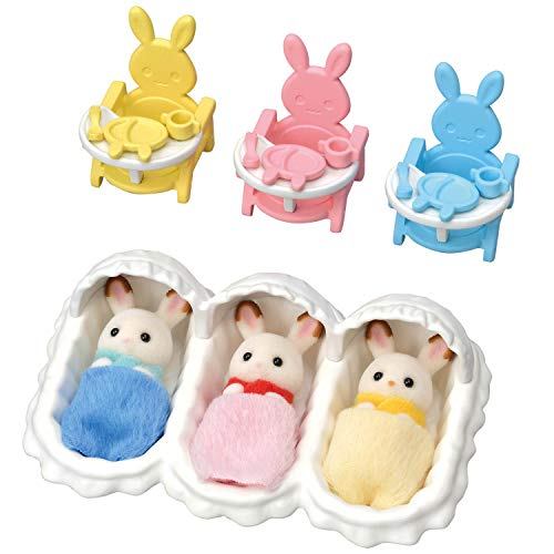 Calico Critters Triplets Care Set, Dollhouse Playset with 3 Hopscotch Rabbit Figures & Accessories Included