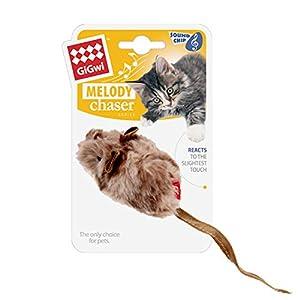 Suhaco Juguetes para Gatos Juguete Interactivo para Gatos Chirrido GiGwi Melody Chaser Ratón de Peluche Activados por Movimiento
