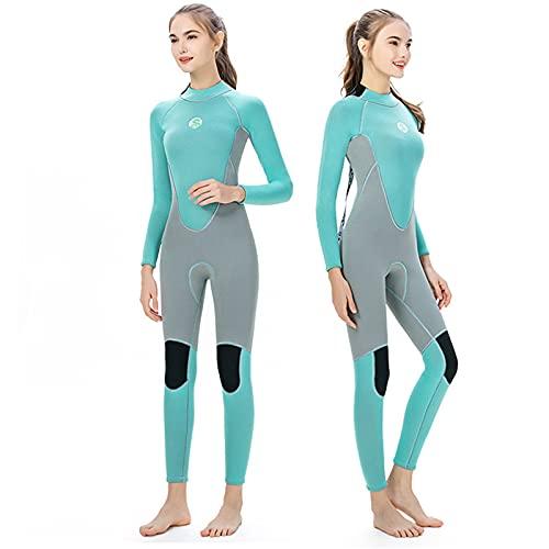 HWZZ Traje de neopreno para mujer, 3 mm, para buceo, surf, snorkel, kayak, deportes acuáticos, adecuado para mantener caliente y frío bajo el agua, azul, L