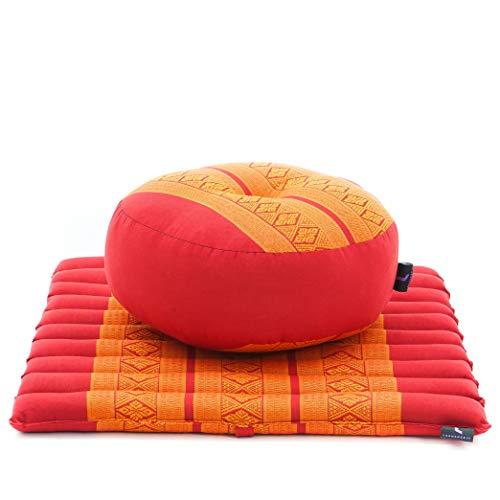 LEEWADEE Meditation Cushion Set Mini – 1 Small Zafu Yoga Pillow and 1 Small Roll-Up Zabuton Mat Filled with Eco-Friendly Kapok, Pack of 2, Orange red