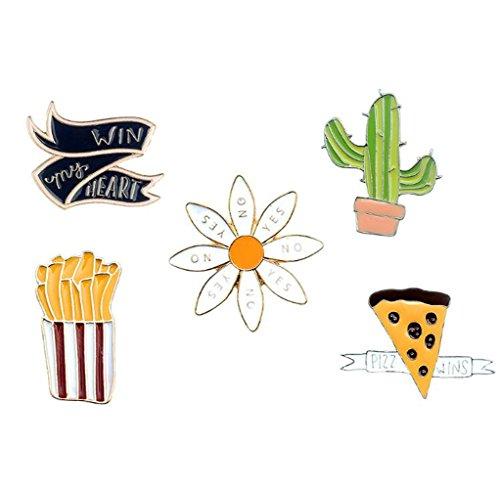 GuDeKe Cactus Capa Crisantemo Papas Fritas Badge Set Broche de la Camisa Broche de Ramillete y Pin para los niños