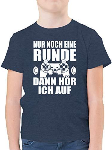 Sprüche Kind - Nur noch eine Runde - 164 (14/15 Jahre) - Dunkelblau Meliert - der perfekte Tag Tshirt zocken - F130K - Kinder Tshirts und T-Shirt für Jungen