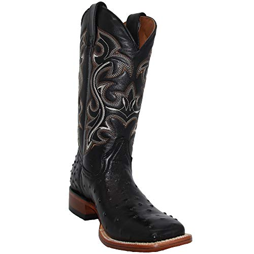 Western Shops Mens Genuine Cowhide Leather Quill Ostrich Print Western Cowboy Square Toe Rodeo Boots