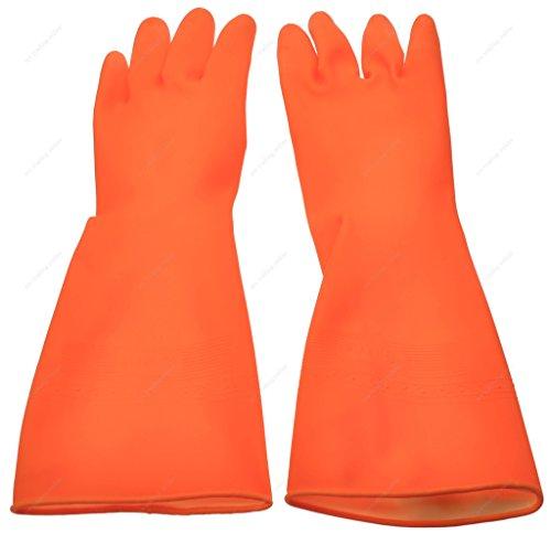 M.V. Trading PLG80337S Rubber Dish Washing Gloves/Garden Working Gloves, Orange, Small