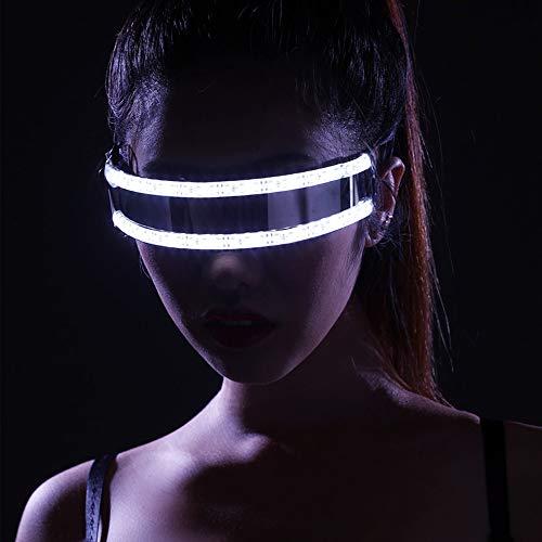 Relubby Gafas LED Rave, Láser Showing Gafas, Hombres Mujeres Máscara De Club Nocturno Fiesta Rave Baile Disfraz De Plástico Accesorios De Escenario Estrobos,White