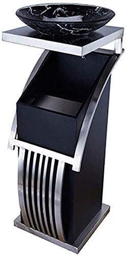 Trash/Garbage Can Stainless Steel Trash Can Hotel Bathroom Waste Can Recycling Bin Outdoor Indoor Supermarket Lobby Office with ashtray (Color : Chrome) Trash Can Waste Basket ( Size : Chrome )