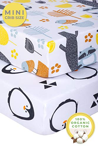 Pickle & Pumpkin Mini Crib Sheets Set | 100% Organic Jersey Cotton 2 Pack Pack N Play Sheets | Baby Girl or Boy | Ideal as Graco Pack and Play Mattress, Playpen, Playard Sheets | Penguin & Woodland
