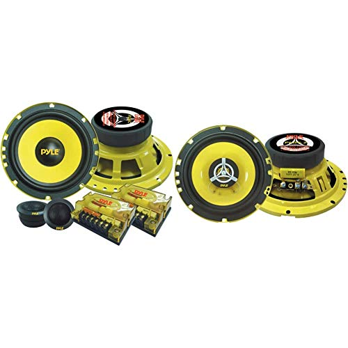 """2Way Custom Component Speaker System 6.5"""" 400 Watt Component with Electroplated Steel Basket & Car Two Way Speaker System - Pro 6.5 Inch 240 Watt 4 Ohm Mid Tweeter Component Audio Sound Speakers"""