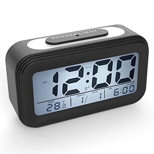 Coolzon Despertador Digital, Alarma Reloj Despertador Pilas para Infantil Niño Adulto, Despertador de Viaje Silencioso con Pantalla LED Calendario Temperatura Función Snooze Luz Nocturna, Negro