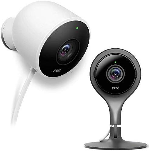 Nest (NC1102ES-MS) Cam Indoor Security Camera with Nest Outdoor Security Camera – White – (NC2100ES)