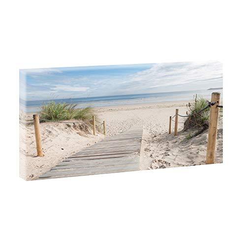 Bild auf Leinwand mit Nordsee-Motiv Weg zum Strand 3 – 160x80 cm Wandbild im XXL-Format, Leinwandbild mit Kunstdruck ungerahmt, Landschaftsbild fertig auf Holzrahmen gespannt, Made in Germany