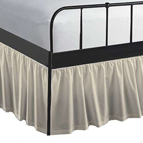 Queen Size Ruffled Bed Skirt Dust Ruffle Bed Skirt with Split Corners- Queen 21 Inch Drop Bed Skirt with Platform-100% Microfiber with Corner Split (Pearl Ivory)