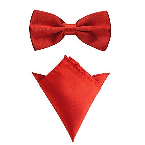 Rusty Bob - Fliege mit Einstecktuch in verschiedenen Farben (bis 48 cm Halsumfang) - zur Konfirmation, zum Anzug, zum Smoking - im 2er-Set (Rot-Fuchsia)