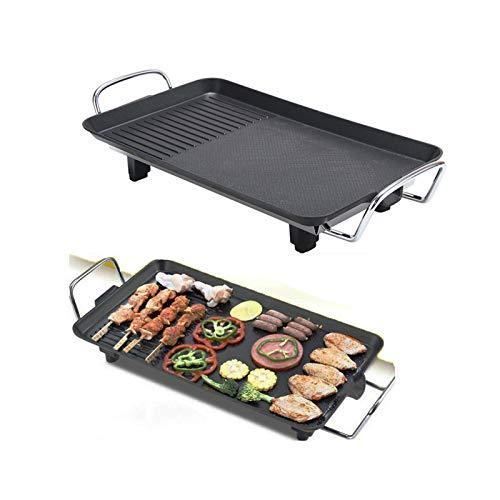 Teppanyaki-Grill 1500W mit Antihaftbeschichtung Elektrische Plancha-/Teppanyaki-Grillplatte BBQ Grill Tischgrill verstellbare Temperatur, M: 48x27x8cm