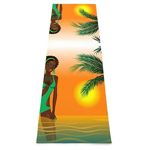 Toalla De Yoga Antideslizante,Mujer Afroamericana Colchoneta Ecológica Para Ejercicios De Fitness Para Entrenamiento Y Hogar,Colchoneta De Gimnasia,Ejercicios De Suelo Y Colchoneta De Fitness Pilate