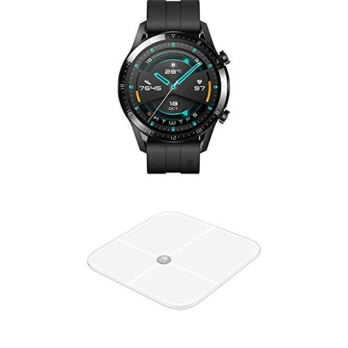 HUAWEI Watch GT 2 Smartwatch (46mm, OLED Touch-Display, Fitness Uhr mit Herzfrequenz-Messung u.v.m, 5ATM wasserdicht) Matte Black, Exklusives Bundle Body Fat Sclae AH100