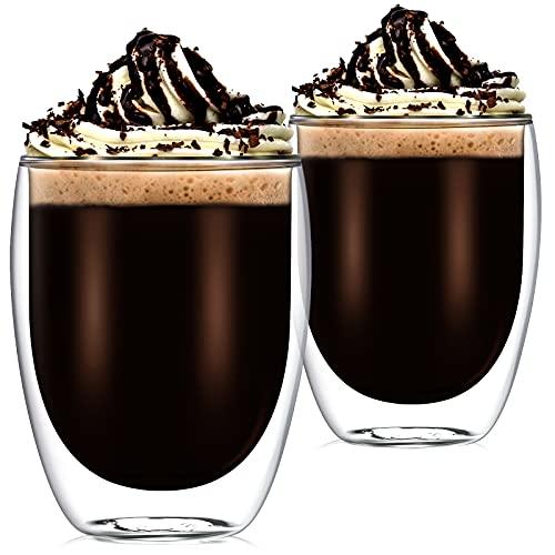 2 Sets Doppelwandige Klar Glas Kaffee Latte Gläser 350 ml Isolierte Hitzebeständige Doppelwandige Kaffeetasse für Tee Espresso Bier Saft Milch und Mehr Heiße und Kalte Getränke