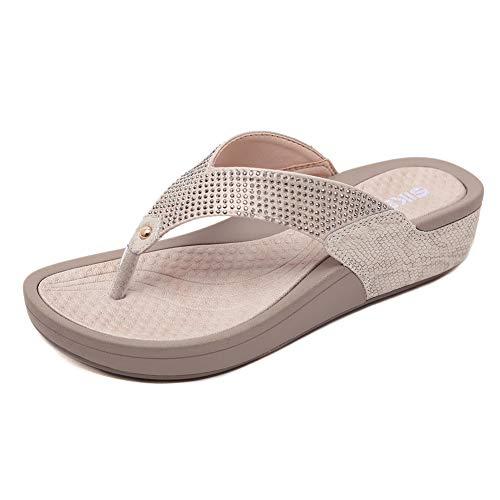 MNVOA Sandalias con Punta Abierta para Mujer Mules de Cuña Cómodas Pantuflas de Cuero Moda Plataforma Zapatillas de Verano Antideslizante,Beige,41 EU