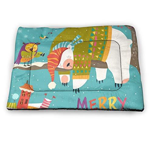 Arehji Christmas sleeping polar bear Non Slip Pet Bed Mat Washable Dog Mattress Pad Cat Blanket Cushion 21' x14