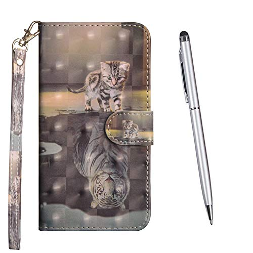 TOUCASA Kompatibel mit Samsung Galaxy M30S Hülle, Handyhülle Brieftasche PU Leder Flip [3D] Hülle Magnetverschluss Handytasche Klapphülle Tasche Lederhülle Schutzhülle (Tiger Katze)