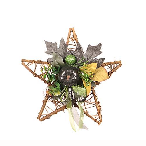 Heetey - Decoración de Halloween, diseño de Cinco Estrellas, Calabaza, Bayas, Hojas de Arce, decoración de Pared, Corona de Puerta, Corona de Pared, Halloween, Ornamentos de plástico