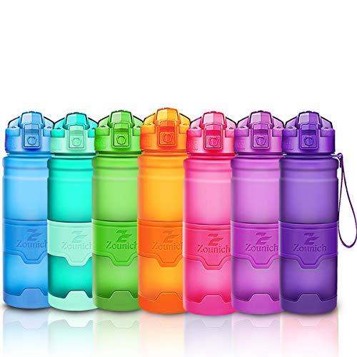 ZOUNICH Trinkflasche Sport BPA frei Kunststoff Sporttrinkflaschen für Kinder Schule, Joggen, Fahrrad, öffnen mit Einer Hand Trinkflaschen Filter, Dunkelviolett, 17oz/500ml