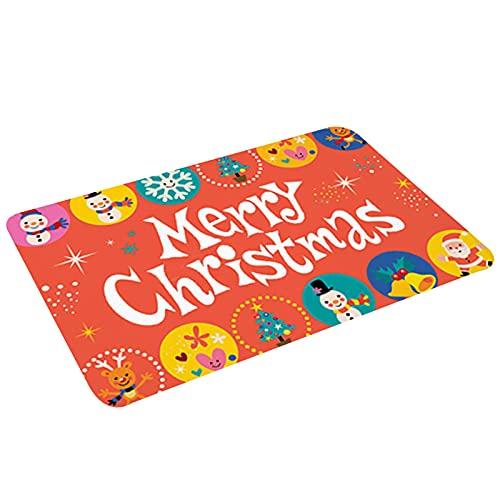 Suministros de decoración para el hogar de Navidad, alfombra de baño absorbente de agua de franela cómoda para sala de cocina