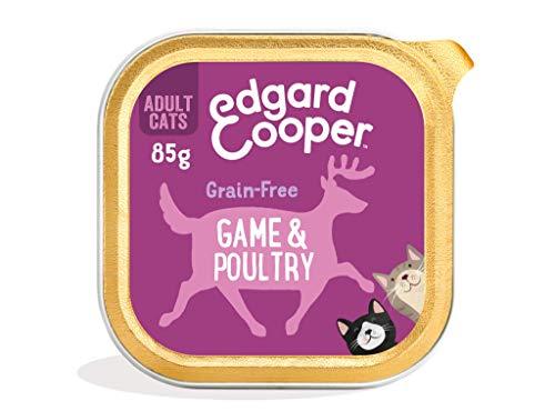 Edgard & Cooper Comida Humeda Gatos Adultos Natural Sin Cereales Esterilizados, Latas 19x85g Caza y Aves Frescos, Fácil de digerir, Alimentación Sana Sabrosa y equilibrada, Proteína