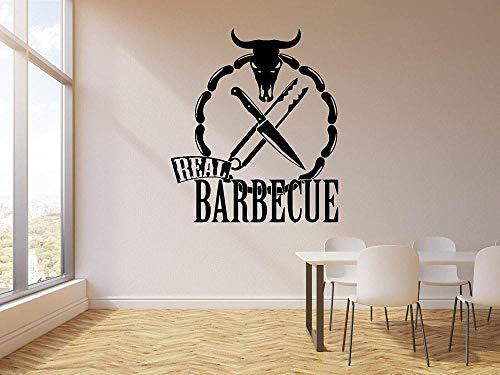 Vinyl Wandaufkleber Wanddekoration DIY Aufkleber Restaurant Stierkopf Deli Aufkleber echte Grill Stierkopf Messer Arbeitszimmer 50x58cm