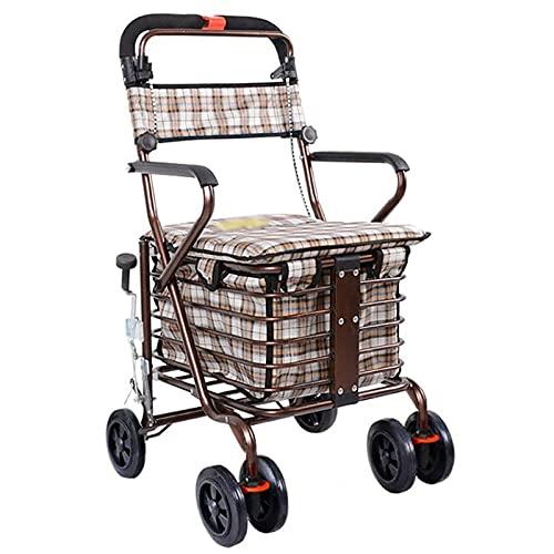 Plegable Tire del Carro con Asiento,Carro de Compras de Trolley para el Sistema de Frenos múltiples,un pequeño automóvil de tirón con Cuatro Ruedas,Carrito de Compras para Personas Mayores