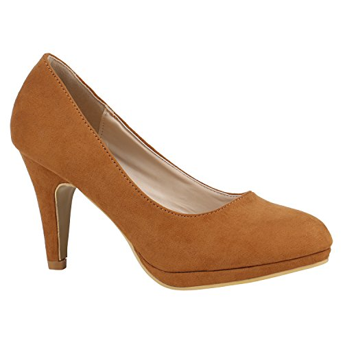 Klassische Damen Pumps Stiletto High Heels Leder-Optik Schuhe 157174 Hellbraun Velours 37 Flandell