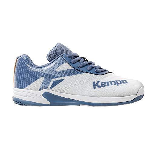 Kempa Unisex-Kinder Wing 2.0 JUNIOR Handballschuhe, Mehrfarbig (Weiß/Steel Blau 04), 36 EU