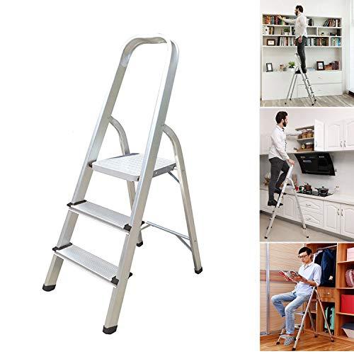 Escalera 3 4 5 6 7 8 peldaños, escalera portátil antideslizante, escalera plegable de aluminio resistente, 150 kg de capacidad EN131 UK Stock