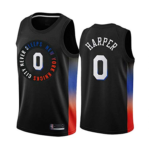 SHR-GCHAO Jersey De Baloncesto De Los Hombres, NBA New York Knicks # 0 Jed Harper Jersey, Fans Edition Malla Sin Mangas Cuello Redondo, Camiseta De Chaleco,Negro,XXL(185~190cm)