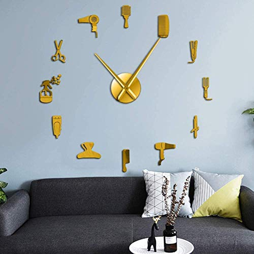 LIUXU Barbershop Riesenwanduhr Barber Tool Kit mit Spiegeleffekt dekorative Uhr Uhr Barbershop Friseur Wandkunst
