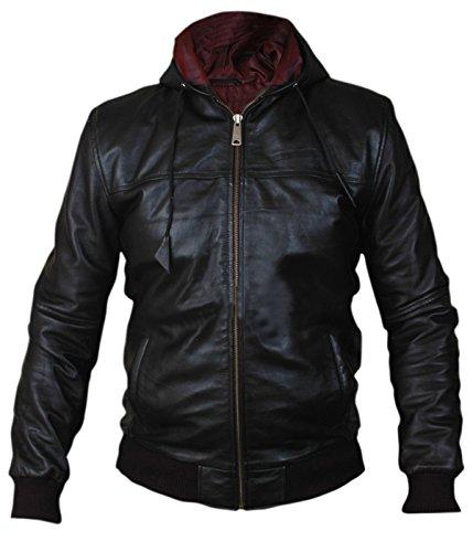Women's Men's Full-Zip Hooded Black Leather Jacket