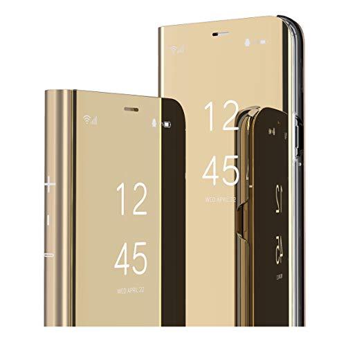 MRSTER Oppo Reno 4Z 5G Hülle Clear View Standing Cover, Spiegel Handyhülle Schutzhülle Flip Hülle Schutz Tasche mit Standfunktion 360 Grad hülle für Oppo Reno4 Z 5G. Flip Mirror: Gold
