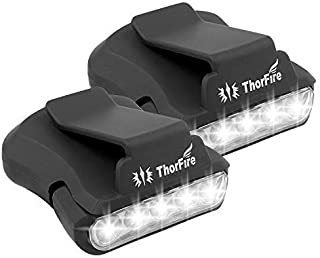 ThorFire Cap Hat Light 5-LED Headlamp Rotatable Ball Cap Visor Light Clip-on Hat Light Hands Free for Hunting Camping Fishing (Pack of 2)