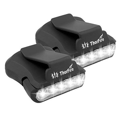 Thorfire Cap Hat Light - 5-LED Rotatable Clip Headlamp for Ball Hat Cap Visor Light Head Lamps Strap Clip Light Hands Free for Hunting Camping Fishing Running Cycling Reading-2 Pack