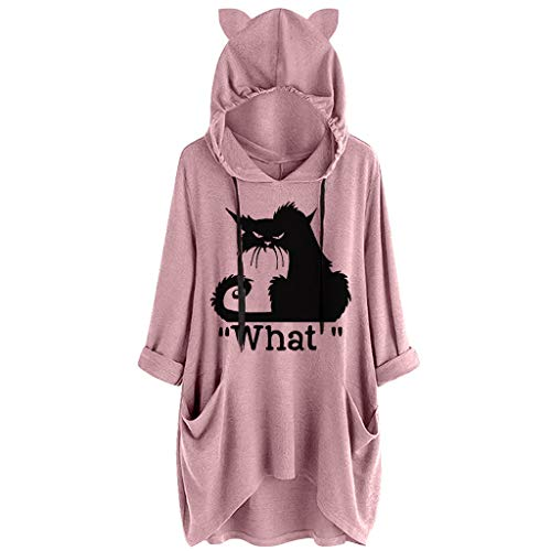 TUDUZ Blusas Mujer Manga Larga Camisas Sudadera Oreja De Gato con Capucha Tops De Color Degradado(D Rosado,M)