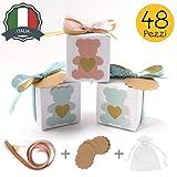 Stella Design Bomboniere Battesimo/Nascita, 48 Pezzi Bigliettini e Sacchetti, Orsetto Maschio/Bambina, Scatole Portaconfetti (Celeste)