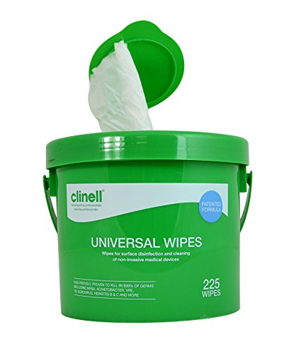 Clinell Universal Cleaning and Disinfectant Wipes Bucket - Pack of 225 -...