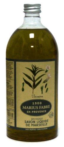 Savon liquide à l'huile d'olive - Parfum Verveine - Pour peaux normales, sèches, matures et sensibles - 1 l