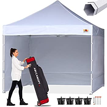 ABCCANOPY Premium Canopy 10x10 Pop Up Commercial Canopy Tent with Side Walls Instant Shade Bonus Upgrade Roller Bag 4 Weight Bags Stakes and Ropes White