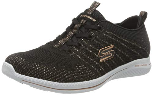 Skechers Damen City PRO Glow ON Turnschuh, Schwarz/Rotgold, 36 EU