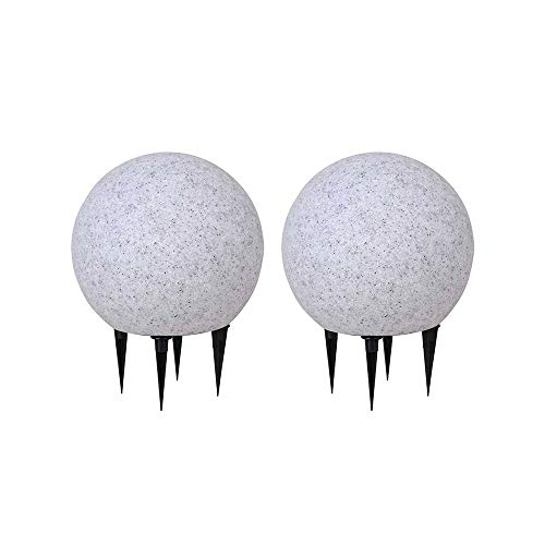 Kugelleuchte aussen 2er Set Gartenlampe Ø20cm, Stein-Optik | Außenleuchte spritzwassergeschützt | Gartenleuchte, E27-Fassung | Kugellampe mit Erdspieß