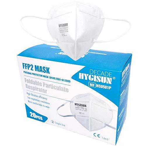 DECADE Mund und Nasenschutz [20x] FFP2 Maske FFP2 by Hygisun, Masken Mundschutz FFP2 Maske durch Stelle 2797, Atemschutzmaske ohne Ventil FFP2 Masken, Mundschutz Maske kn95